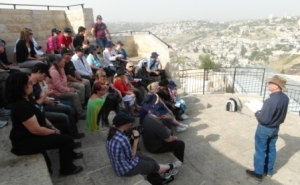 At the Mount of Olives overlooking Jerusalem with yours truly leading the discussion
