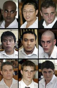 Bali Nine members (top L-R) Myuran Sukumaran, Andrew Chan and Martin Eric Stephens, 2nd row (from L-R) Chen Si Yi, Tach Duc Thanh Nguyen and Matthew Norman, and 3rd row (from L-R) Scott Rush, Michael Czugaj and Renae Lawrence. Picture: Supplied Source: News Limited